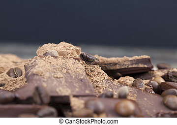 close-up of cocoa food, photo with leisure ingredients-cocoa and coffee, chocolate bar with cocoa powder topping and coffee beans