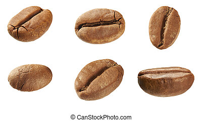 Close up of coffee beans isolated on white with clipping path
