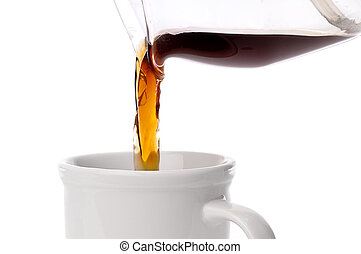 close up of coffee being poured into a coffee cup on white