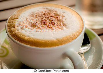Close-up of Coffee, Cappuccino coffee cup, backlight