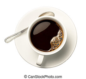 coffee cup - close up of coffee cup on white background with...