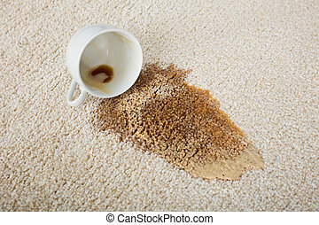 Coffee Spilling From Cup On Carpet - Close-up Of Coffee...