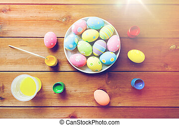 close up of colored easter eggs on plate