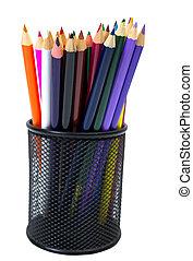 Close-up of colored pencils in Pencil box