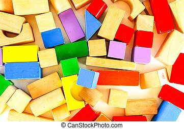 Close-up of colored wooden toy blocks