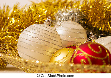 christmas ball with golden decorations