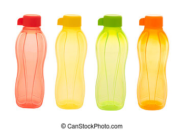 close up of colorful plastic bottles isolated on white