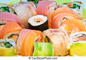 Close up of colorful sushi with raw fish