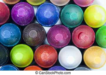 Close up of coloured crayons