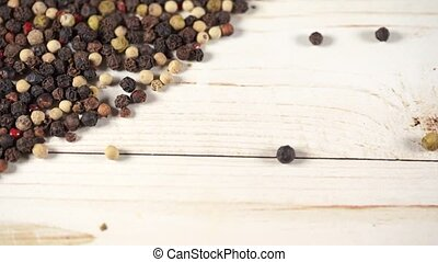 Close up of condiment on white wooden background. Bunch of ...