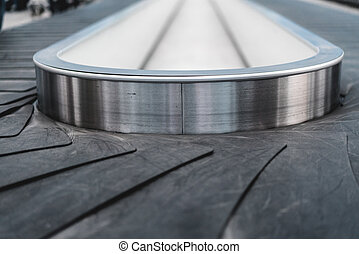 Close up of conveyor belt at the baggage claim