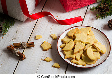 Close-up of cookies with Christmas gifts