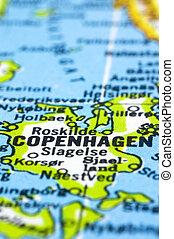 close up of Copenhagen on map, Denmark