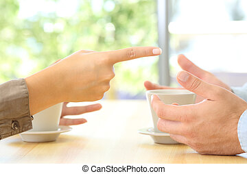 Close up of couple hands arguing at home - Close up of...