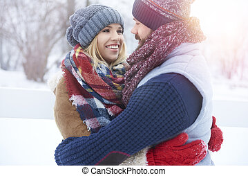 Close up of couple in the winter