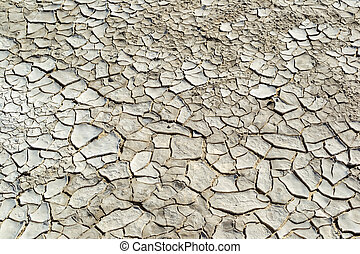 Close-up of cracked soil ground in the dry season