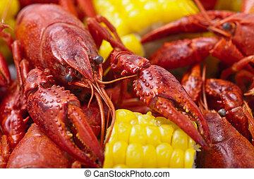 Close-up of Crayfish Boil. Shallow DOF.