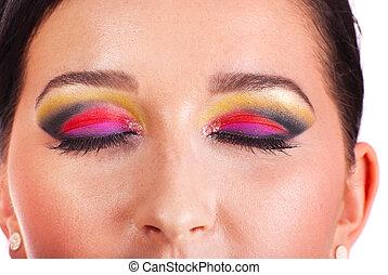 Close up of creative make up on eyes