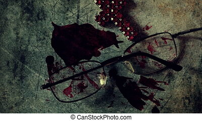 Close up of cross of jesus on bloody grunge background
