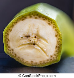Close-up of Cross section of banana that looks like an unhappy or sad face.