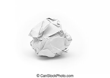 close-up of crumpled paper ball with white background.