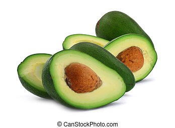 cut avocado - close-up of cut avocado fruit isolated on...