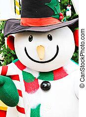 Close up of cute snowman doll
