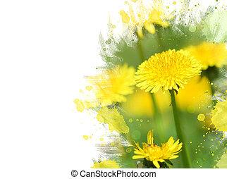 Close-up of dandelion flower. Watercolor effect