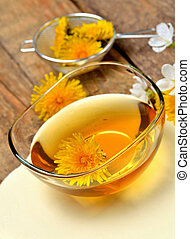 Close-up of dandelion honey in a glass bowl and dandelion head around - vertical photo