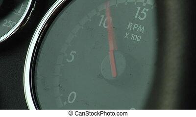 Close-up of dashboard moniter (RPM)