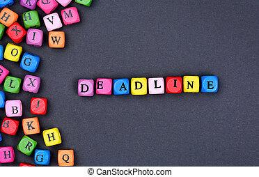 Deadline word on black background
