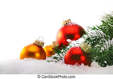 Close up of decorative Christmas balls and Christmas tree on the
