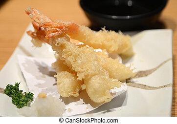 Close up of deep-fried tempura shrimps