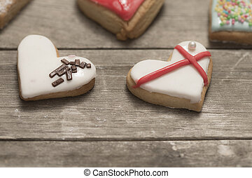 Close-up of delicious baked valentine's cookies
