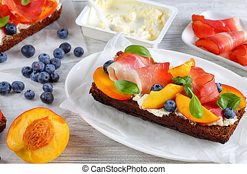 close-up of delicious colorful open sandwich