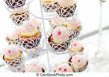 close up of delicious cupcakes