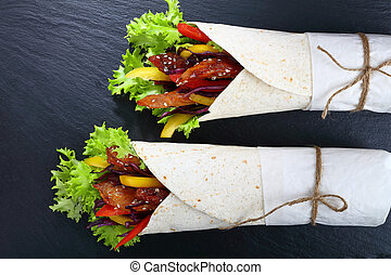 close-up of delicious fresh juicy wraps