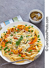 close-up of delicious grilled pumpkin and pasta