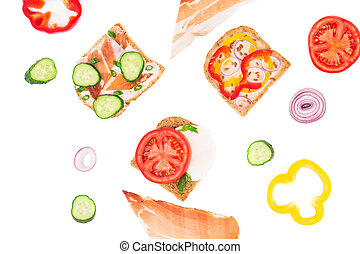 Close up of delicious sandwiches. Whole background.