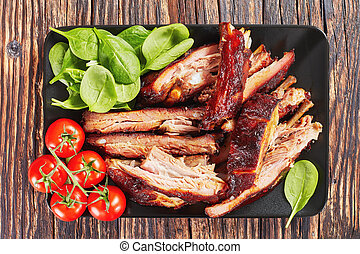 close-up of delicious sliced BBQ ribs