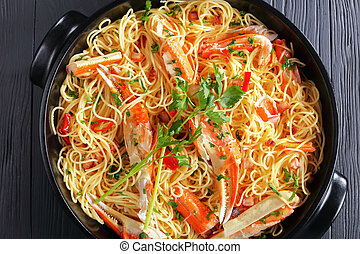 close-up of delicious spaghetti with Crab