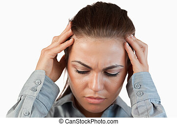 Close up of depressed businesswoman