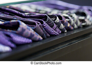 designer ties in store - Close-up of designer ties in store.
