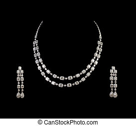 Close up of diamond necklace on black background with...