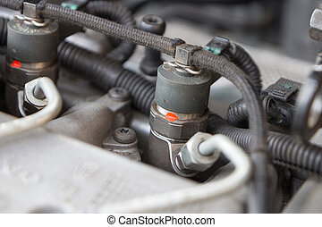 close up of diesel engine fuel injection nozzle