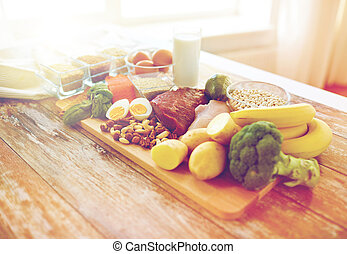close up of different food items on table