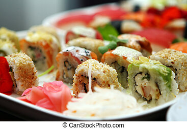 Close up of different sushi