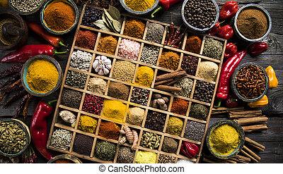 Close-up of different types of Assorted Spices in a wooden...
