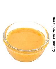 dijon mustard salad dressing isolated - close up of dijon ...