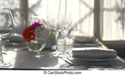 Close up of dining table.